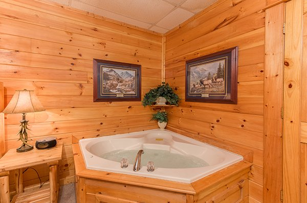 jacuzzi tub at animal kingdom a 4 bedroom cabin rental located in gatlinburg