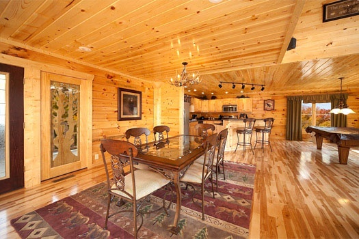 dining table for six at big bear cove a 3 bedroom cabin rental located in gatlinburg