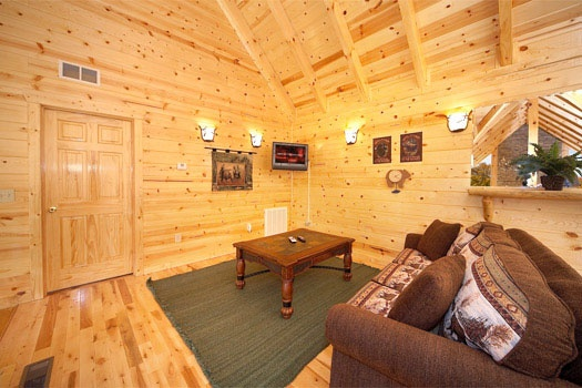 sofa bed in loft at big bear cove a 3 bedroom cabin rental located in gatlinburg