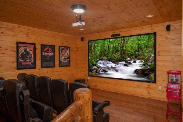 Theater room at Four Seasons Palace, a 5-bedroom cabin rental located in Pigeon Forge