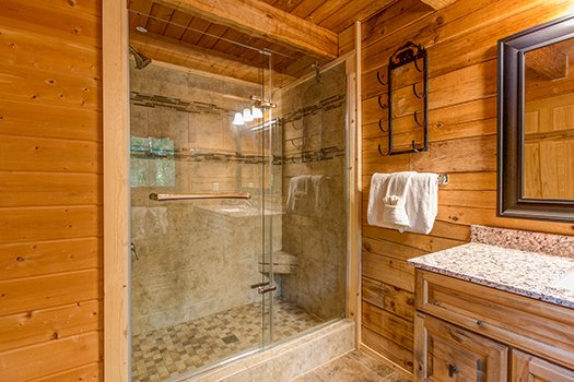 Large glass shower at Cupid's Crossing, a 1-bedroom cabin rental located in Pigeon Forge