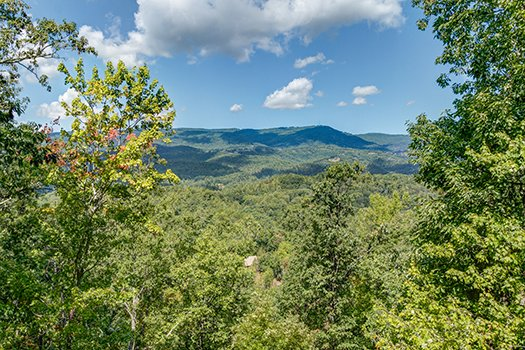 Mountain views at Cupid's Crossing, a 1-bedroom cabin rental located in Pigeon Forge