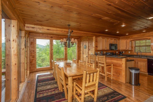 Dining room at Mountain Bliss, a 2 bedroom cabin rental located in Pigeon Forge