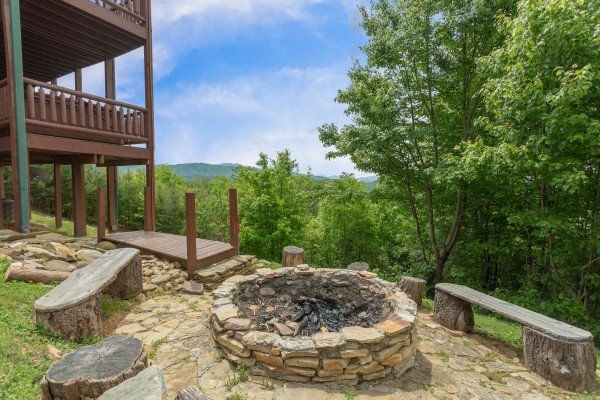 Fire pit with mountain views at Mountain Bliss, a 2 bedroom cabin rental located in Pigeon Forge