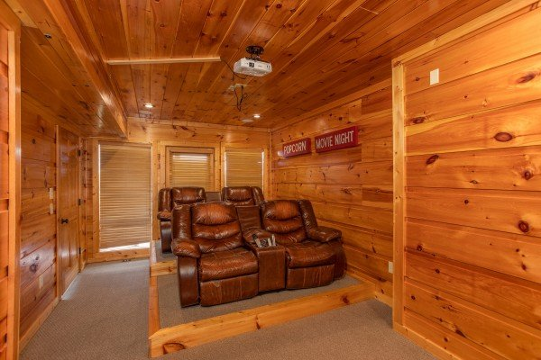 Theater room seating at Mountain Bliss, a 2 bedroom cabin rental located in Pigeon Forge