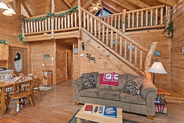 Living room with a sofa bed at Moose Tracks, a 1 bedroom cabin rental located in Gatlinburg