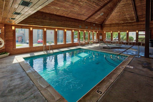 Condo complex indoor pool at Summit Condo 1208, a 2 bedroom cabin rental located in Gatlinburg