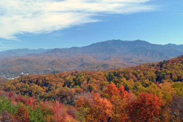 Fall color on the Smoky Mountains seen at Summit Condo 1208, a 2 bedroom cabin rental located in Gatlinburg