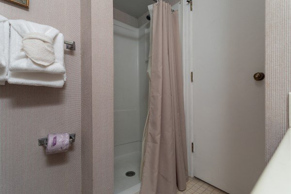 Bathroom with a shower stall at Summit Condo 1208, a 2 bedroom cabin rental located in Gatlinburg