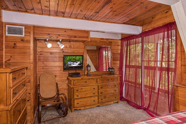 Bedroom dressers and television at 2 The Mountains, a 3 bedroom cabin rental located in Gatlinburg