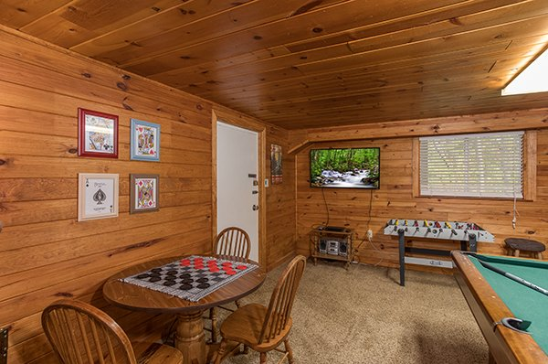Game room at 2 The Mountains, a 3 bedroom cabin rental located in Gatlinburg