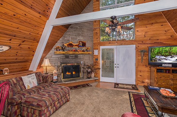 Living room fireplace at 2 The Mountains, a 3 bedroom cabin rental located in Gatlinburg