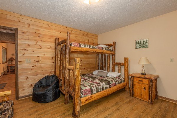 Bunk bed in a bunk room at Cubs' Crib, a 3 bedroom cabin rental located in Gatlinburg