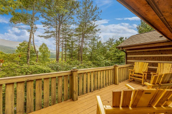 Deck view at Cubs' Crib, a 3 bedroom cabin rental located in Gatlinburg