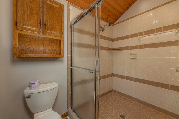 Shower in a bathroom at Cubs' Crib, a 3 bedroom cabin rental located in Gatlinburg
