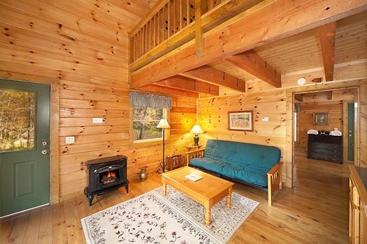 living room at licklog hollow a 1 bedroom cabin rental located in pigeon forge