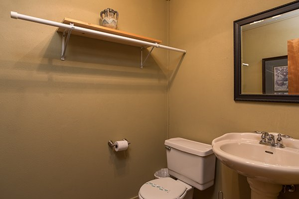 Bathroom on the lower level at Laid Back, a 2 bedroom cabin rental located in Pigeon Forge
