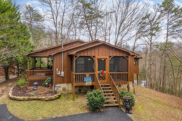 Looking back at Black Bear Holler, a cabin rental in Pigeon Forge