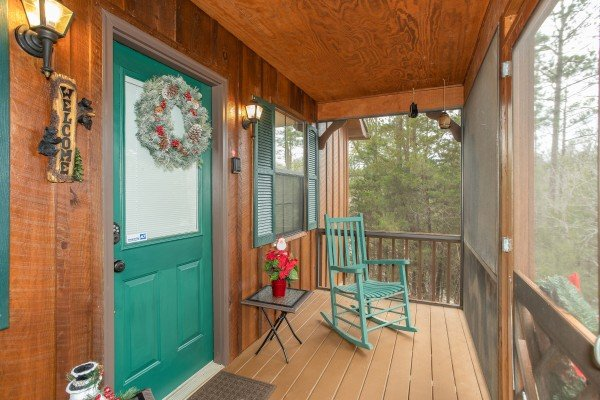 Front door at Black Bear Holler, a cabin rental in Pigeon Forge