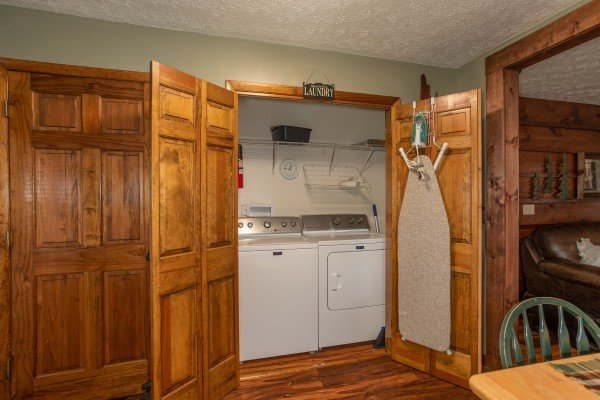 Laundry space at Black Bear Holler, a cabin rental in Pigeon Forge