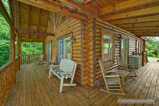 Front porch at The Cowboy Way, a 4 bedroom cabin rental located in Pigeon Forge