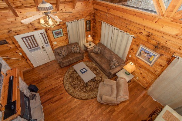 Looking down in the living room at The Cowboy Way, a 4 bedroom cabin rental located in Pigeon Forge