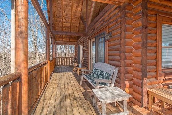 Second level deck at The Cowboy Way, a 4 bedroom cabin rental located in Pigeon Forge