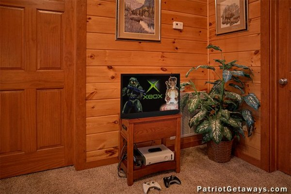 Loft TV with Xbox One system at The Big View, a 4 bedroom cabin rental located in Pigeon Forge