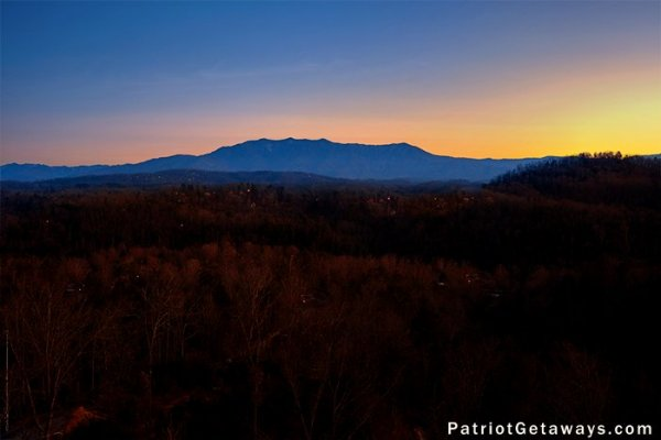 Mount LeConte view at sunset at The Big View, a 4 bedroom cabin rental located in Pigeon Forge