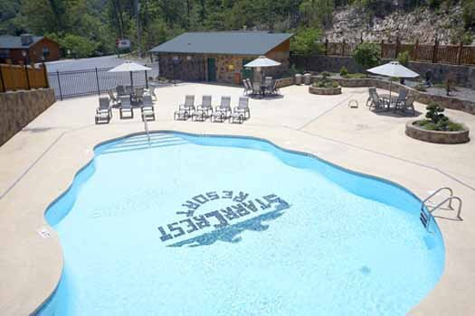 Resort pool at The Big View, a 4 bedroom cabin rental located in Pigeon Forge