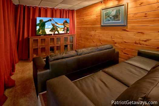 First floor theater room at The Big View, a 4 bedroom cabin rental located in Pigeon Forge