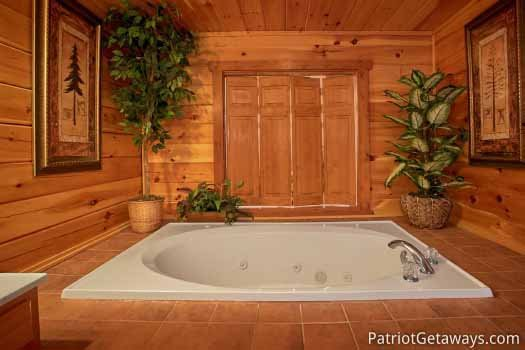 Third floor jacuzzi tub at The Big View, a 4 bedroom cabin rental located in Pigeon Forge