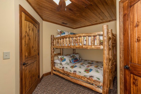 Log bunk bed at Over Ober Lodge, a 5 bedroom cabin rental located in Gatlinburg
