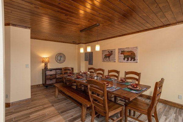 Dining table for 10 at Over Ober Lodge, a 5 bedroom cabin rental located in Gatlinburg