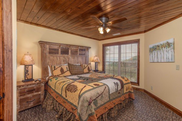 Bedroom with a king bed at Over Ober Lodge, a 5 bedroom cabin rental located in Gatlinburg