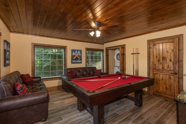 Pool table at Over Ober Lodge, a 5 bedroom cabin rental located in Gatlinburg