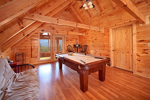 Lofted game room with pool table at Looky Yonder, a 2 bedroom cabin rental located in Gatlinburg