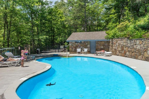 Pool at Bent Creek Golf Course is available for guests at Looky Yonder, a 2 bedroom cabin rental located in Gatlinburg