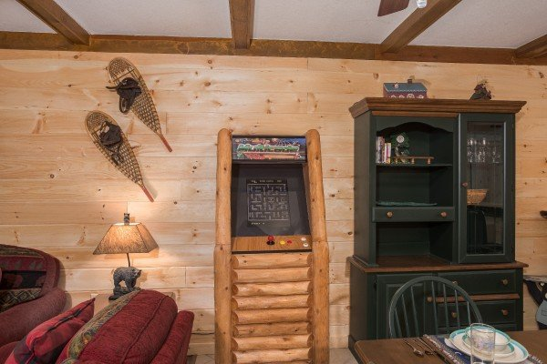 Video game in the living room at Under Ober, a 3 bedroom cabin rental located in Gatlinburg