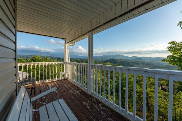 View from the covered porch at Black Bear Ridge, a 3-bedroom cabin rental located in Pigeon Forge