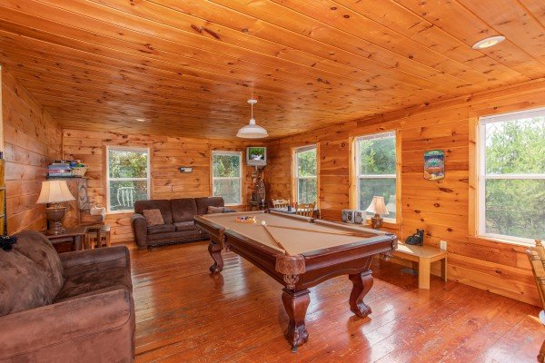 Pool table at Black Bear Ridge, a 3-bedroom cabin rental located in Pigeon Forge
