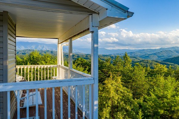 Upper porch view at Black Bear Ridge, a 3-bedroom cabin rental located in Pigeon Forge