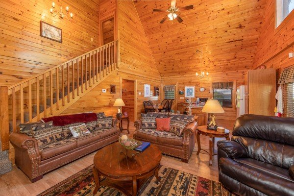 Seating in the living room at Grand View, a 3 bedroom cabin rental located in Sevierville