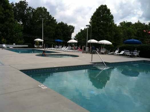 Swim all day at the resort pool when staying at Alpine Pointe, a 5 bedroom cabin rental located in Gatlinburg
