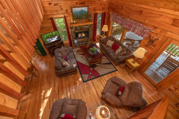 Looking down at the living room at Majestic Mountain, a 4 bedroom cabin rental located in Pigeon Forge