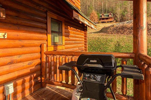 Propane grill on the deck at Kountry Lovin', a 2 bedroom cabin rental located in Pigeon Forge