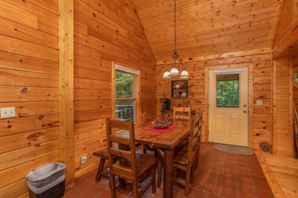 Dining space for four at Lazy Mountain Retreat, a 1 bedroom cabin rental located in Gatlinburg