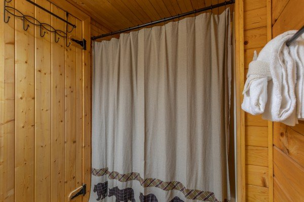 Bathroom at Lazy Mountain Retreat, a 1 bedroom cabin rental located in Gatlinburg