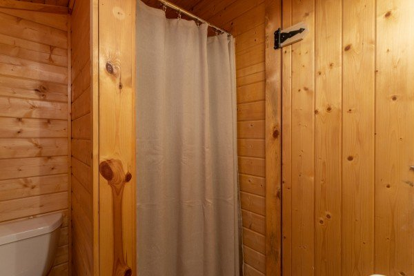 Bathroom with a shower at Lazy Mountain Retreat, a 1 bedroom cabin rental located in Gatlinburg