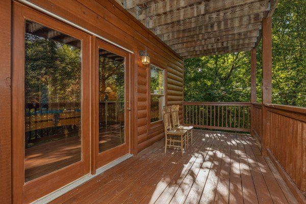 Lower deck at Highland Moose, a 2 bedroom cabin rental located in Pigeon Forge